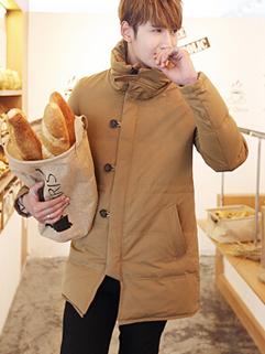 Korean Chic Design Long Coat Zip Up Stand Collar Vertical Pocket Button Cozy Khaki Color Oversize Casual Men Coat