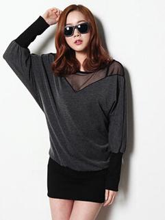 Classic Korean Hot Sale Fashion Long Sleeve Pullover Dress O Neck Gauze Split Joint Slim Wear Sexy Chic Dress