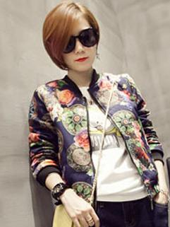 2014 Pop Star Women Jackets Long Sleeve Printed Flowers Pattern Zip Up Baseball Neck Jackets