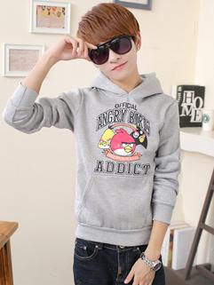 Korean College Casual Cozy Pure Color Hooded Pullover Long Sleeve Hoodie Vertical Pocket Angry Bird Pattern Hoodie