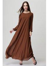Lantern Sleeve Tie-wrap Solid Maxi Dress