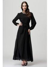 Lantern Sleeve Fitted Black Maxi Dress