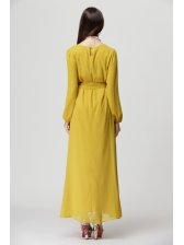 Solid Color Chiffon Ball Gown Dress Yellow Maxi Dress