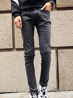 Street Wear Handsome Men Star Pattern Pant Zipper Fly Vertical Pocket Slim Wear All Match Fashion Pant S-L