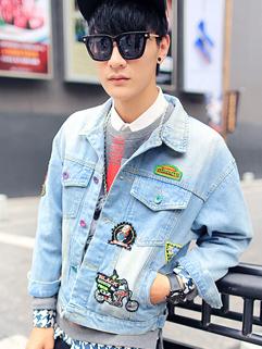 Metrosexuel All Match Long Sleeve Lapel Single-breasted Denim Men Jacket Badge Pockets Cozy Solid Color Jacket