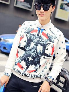 Street Wear Punk Hip-pop Individual Pullover O Neck Hoodie To Youth Printed Long Sleeve Beige Color Hoodie