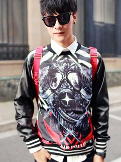 Personality Long Sleeve Pullover O Neck Printed Korean Hot Sale Hoodie PU Split Joint Oversize Black Color Hoodie