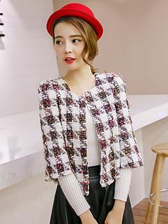 2014 Sweet Style Coats Grid Pattern Three-quarter Sleeve Coats White Short Casual Coats