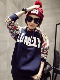 2014 High Quality Cute Hoodies Color Block Printed Pattern Hooded Long Sleeve Casual Navy Blue Hoodies