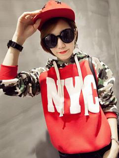 2014 High Quality Cute Hoodies Color Block Printed Pattern Hooded Long Sleeve Casual Bright Red Hoodies