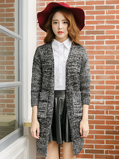 Fashion Korea 2014 Sweater Pockets MD-Long Loose Cardigan Woolen Out Going Sweater