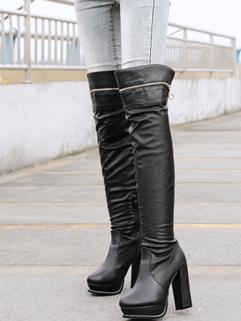 High Quality Best Selling Black Color Platform Chunky Heel Boot Round Toe Side Zipper Zip Add Wool Jackboot