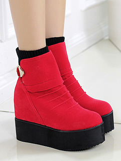 High Quality Suede Individual Cozy Red Color Round Toe Boot Platform Add Wool Buckle-loop High Heel Casual Boot