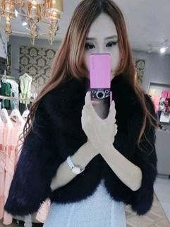 2014 High Quality Women Short Coats Pure Color Fur Neck Rhinestone Buckle Cardigan Half Sleeve Faux Fur 3 Colors Coats