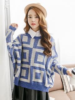 Artist Women 2014 Sweater Grid Pattern Color Block Loose Top Blue Woolen Sweater