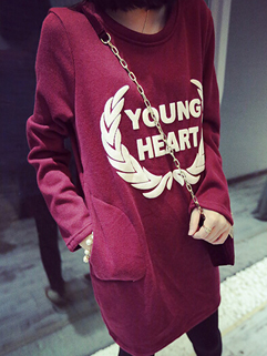 2014 Simplicity Long Hoodies Pure Color Letter Pattern Round Collar Long Sleeve Thicken Wine Red Hoodies