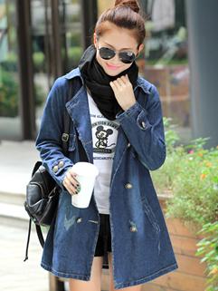 Exquisite Korea Coats Add Wool Loose Double-breasted Lapel Coats Denim S-3XL Coats