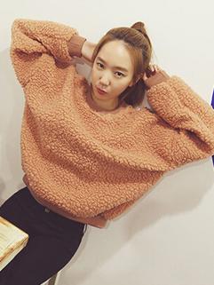 2014 Winter New Thicken Hoodies Pure Color Round Collar Long Sleeve Woolen Khaki Hoodies