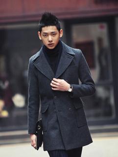 Korean Best Sale Long Sleeve Vertical Pocket Double-breasted Long Coat Lapel Slim Wear Oversize Pure Color Coat