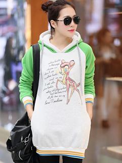 2014 Japanese Style Hoodies Deer Pattern MD-Long Loose Top Hooded Green Chic Hoodies