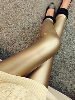 2014 European Hot Selling Leggings Pure Color Long Pants Skinny Golden PU Thicken Leggings