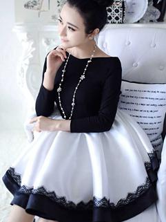 2014 Korea Casual Dress Color Block Long Sleeve Boat Collar Dress Ball Gown Dancing Party Dress