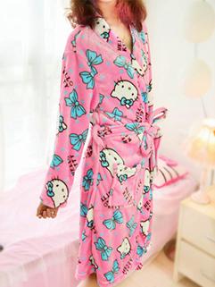 Comfortable And Chic Pajamas Hello Kitty Pattern Loose Bandage Pajamas Bow Flannel Pajamas