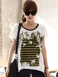 Hot Selling Korea Top Striped Color Block Loose Top Summer Casual T-Shirt