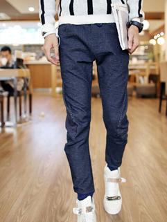 Fashion Dark Blue Color Long Pant Pulling Rope Vertical Pocket All Match Slim Wear Oversize Pant For Sale