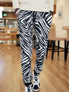 Metrosexuel Chic Design Zebra Printed Pulling Rope Long Pant Oversize Slim Wear Vertical Pocket Cozy Solid Color Pant