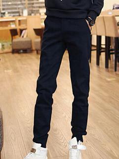 Korean Style Black Color Slim Wear Oversize Long Pant Button Split Joint Vertical Pocket Zipper Fly Easy Match Pant