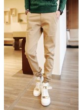 Street Wear Pure Color Slim Wear Oversize Long Pant Button Split Joint Vertical Pocket Zipper Fly All Match Pant