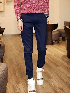 Cozy Dark Blue Color Slim Wear Oversize Long Pant Button Split Joint Vertical Pocket Zipper Fly Casual Wear Pant