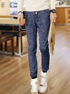 Korean Autumn Hot Sale Dark Blue Color Long Pant Oversize Retro Plaid Pattern Pulling Rope Pockets Low-waist Pant