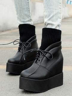Chic Design Hidden Heel Cozy Black Color Wedge Boot Platform Split Joint Lace Up All Match High Heel Boot