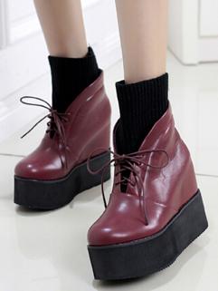 Korean Fashion Chic Design Hidden Heel Pure Color Wedge Boot Platform Split Joint Lace Up All Match High Heel Boot