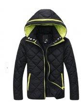 2014 Winter New Men Coats Pure Color Zip Up Long Sleeve Hooded Casual 2 Colors Woolen Coats M-3XL