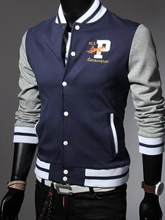 2014 American Fashion Men Jackets Color Block Baseball Neck Long Sleeve Navy Blue Jackets M-3XL