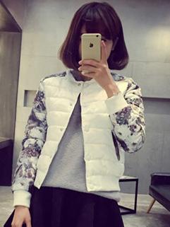 2014 Winter New Warm Short Coats Color Block Cardigan Round Collar Long Sleeve White Coats