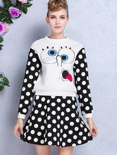 Latest Design O Neck Pullover Dot Pattern Top Skirt Two Piece Dress Split Joint 2 Size Slim Wear Pure Color Women Suit