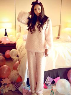 2014 Korean Sweet Style Women Pajamas Pure Color V Neck Bow Cotton Long Sleeve Pink Pajamas