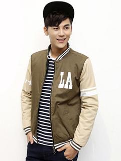 2014 Popular Men Jackets Color Block Printed Pattern Baseball Neck Long Sleeve Green Jackets M-XL