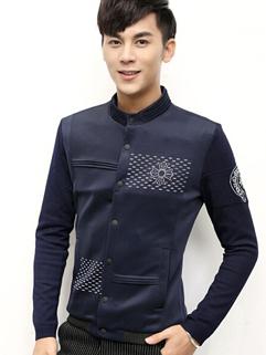 2014 New Fashion Jackets Color Block Printed Pattern Baseball Neck Long Sleeve Blue Jackets L-4XL