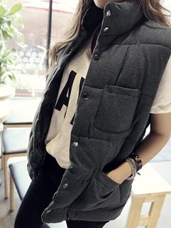 2014 Korean Style Waistcoats Pure Color Cardigan Woolen Stand Collar Sleeveless Gray Waistcoats