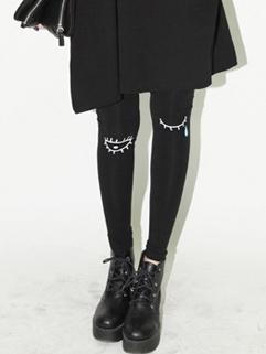 2014 Trend Dose Leggings Tears Pattern Skinny Long Leggings Black Cotton Leggings