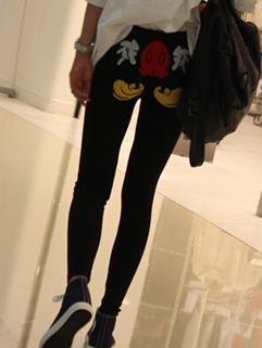 Lovely Girl Leggings Cartoon Pattern Long Color Block Add Wool Leggings Casual Black Leggings