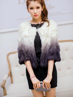 2014 New Deluxe Women Short Coats Color Block Gradient Round Collar Cardigan Half Sleeve Faux Fur Black Coats