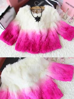 2014 New Coming Women Short Coats Color Block Gradient Round Collar Cardigan Half Sleeve Faux Fur Rose Coats
