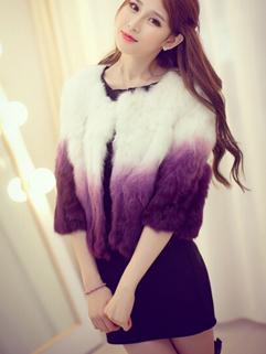 Deluxe Women Short Coats Color Block Gradient Round Collar Cardigan Half Sleeve Faux Fur Purple Coats