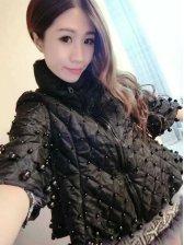 European Hot Sale Coats Solid Color Loose Cardigan Black Beading Loose Coats
